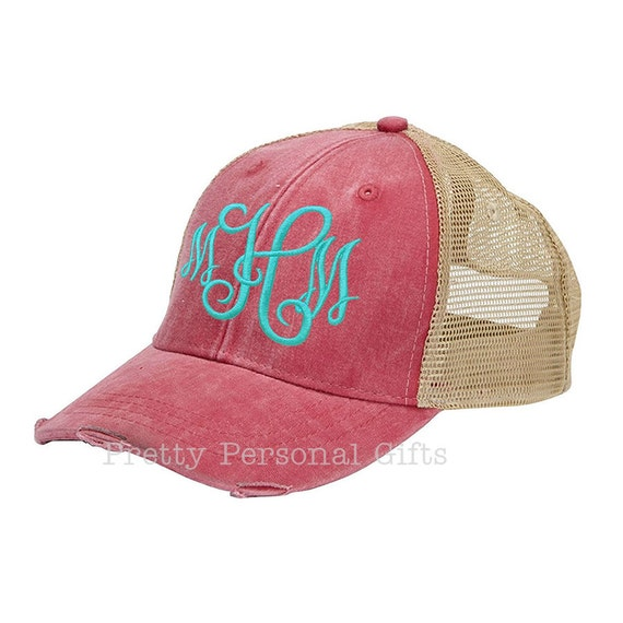 0d45ba2e85b4d Trucker Hat Baseball Hat with monogram distressed with tan