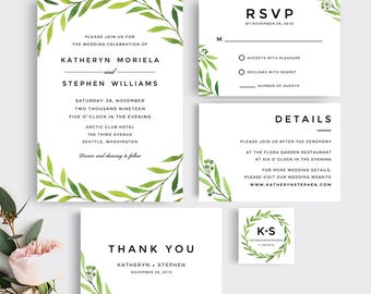 Greenery Watercolor Wedding Invitations Printable Template, Printable & Editable Botanical Wedding Invitations Template, Instant Download