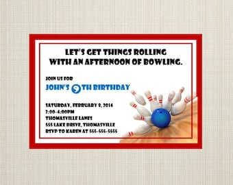 Bowling Inspired Birthday Invitation - You Print