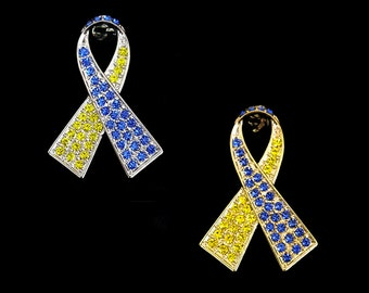 Crystal Blue Yellow Ribbon Bow Down's Down Syndrome DS Trisomy 21 Awareness Brooch Pin Silver Tone Gold Tone