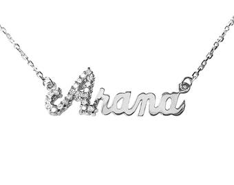 SNP04cz Silver Shimmering Script Letter Name Necklace with Cubic Zirconia