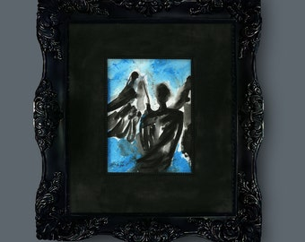 """Abstract Angel Painting, Angel Art, Spiritual Art, Original on canvas in large mat """"Angel 103"""" by Kathy Morton Stanion EBSQ"""