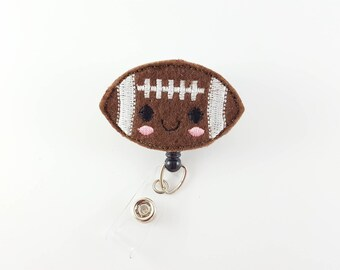 Football - Felt Badge Reel - Nurse Badge Holder - RN Badge Reel - Retractable ID Badge - Cute Badge Reels - Peds Badge Clip - Teacher -Coach