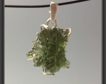 Besednice Moldavite pendant wrapped in Sterling Silver