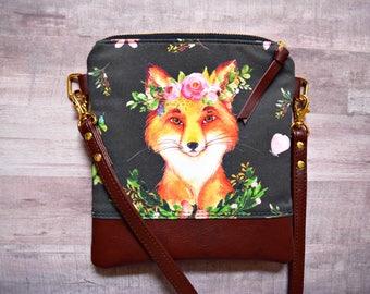 Floral fox crossbody bag, fox bag, genuine leather crossbody, grey crossbody, fox purse, floral flox bag, fall crossbody, fall bag,small bag