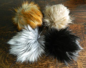 Hand Made Faux Fur Pompoms - Hand Made Pom-poms for Hats & Crafts