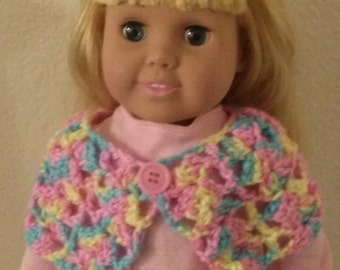 "Crocheted poncho - 18"" doll clothing"