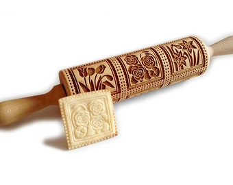 Spring flowers Springerle, Cookie,  Rolling Pin,Engraved rolling pin,Embossed rolling pin, Wooden rolling pin,  Biscuits, Gingerbread, Gift