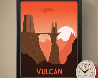 Vulcan Star Trek Travel Print, Travel poster, Movie poster, Retro movie art, Minimalist poster, Print