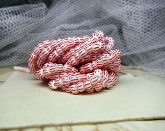 Striped Glass Beads | Full Strand | Red & White Seed Beads | Rondelle and Drum Shapes | Tiny Spacer Beads | 3mm - 5mm | Candy Stripes