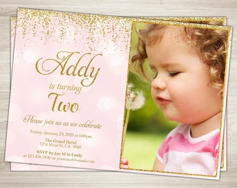 Pink and Gold Birthday Party Invitation, Pink and Gold Birthday Invitation, Gold Glitter, Polka Dot, 1st Birthday, Girl, Printable Invite
