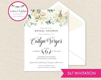 Brautdusche Einladung, Aquarell Brautdusche Aquarell Einladung, Brautjungfern Mittagessen, Hochzeit Design, Lauren Haddox Design