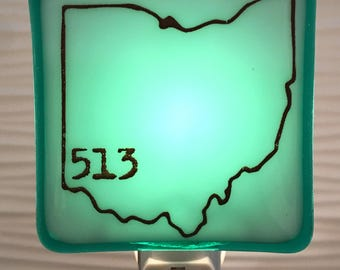Cincinnati Ohio 513 Fused Glass Night Light
