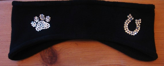 Puppy Paw and Horseshoe Headband, Ear Warmer, Winter Wear, Womens Accessories, Skiing, Cheer Leading