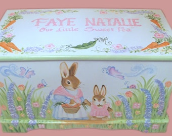 Bunny Toy Chest with Mommy Bunny  and Baby Bunny Custom Designed