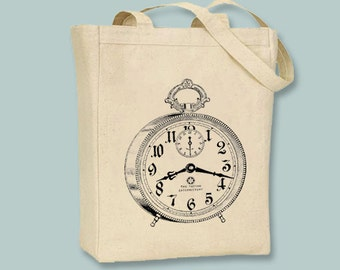 Vintage Alarm Clock Steampunk Illustration on canvas tote -- Selection of sizes available