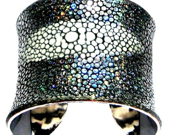 Metallic Silver Stingray Cuff Bracelet ( Center Cut Silver Lined ) - by UNEARTHED