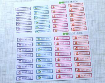 Rent Due // Payment Due Labels (Set of 32) Item #221