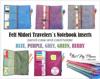 Midori insert Standard Regular size - Felt Zipper Wallet Card Holder - 6 Pockets - Pencil Case - Travelers Notebook Insert