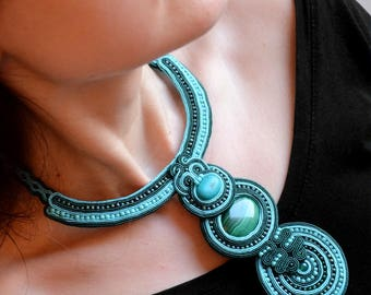 Green statement necklace ethnic style jewelry  malachite collar big soutache necklace big fabric necklace turquoise  unique gifts for woman