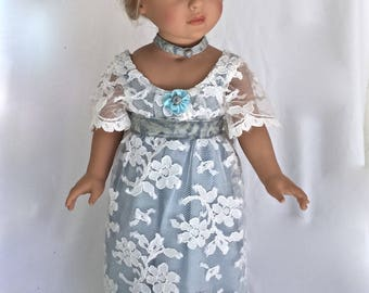 Doll Clothing for 18 inch dolls. Blue and white lace maxi doll dress, doll petticoat, crocheted doll shoes, doll choker, doll hair clip.