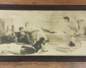 Framed Print ~ A Reading From Homer ~ Sir Lawrence Alma-Tadema ~ Ancient Rome, Greece ~ Manz Engravin Co. Chicago