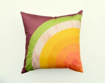 Target Pillow, Graphic Cushion, SALE, bull's eye, orange, yellow, green, brown, woodgrain