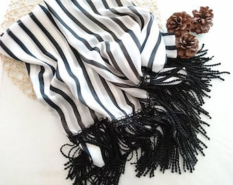 scarf with fringe, chiffon scarf, black white scarf, fringe scarf, striped scarf, womens scarves, womens gift, ready to ship, long scarf