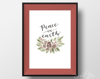 Peace on Earth | Christmas watercolor + calligraphy wreath | digital download