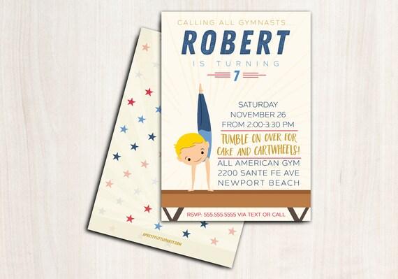 Boy Gymnastics Birthday Invite - Customized Gymnast Party Invitation