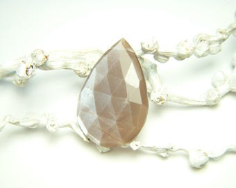 Taupe Moonstone Faceted Drop - Focal - 17x26mm