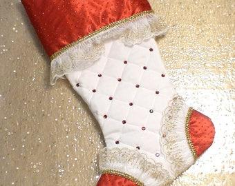 Jeweled Christmas Stocking with Optional Organza Bow - Ruby Red Christmas Stocking