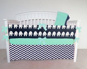 FREE SHIPPING - 4 Piece Crib Set - Navy blue chevron and navy blue elephant crib set