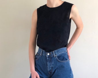 90s embroidered chiffon silk back button tank / midnight blue sleeveless cropped silk top / vintage silk chiffon blouse   S