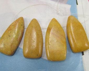 Jasper Teardrop Pendant, Yellow Shield Pendants, Earth Tone Gemstone Pendants, Pendant Pairs, Gold Stone Points, 4 Pcs