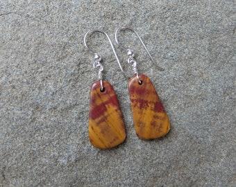 Mookaite earrings - gem stone jewelry - natural earrings handmade in Australia - unique earrings red yellow