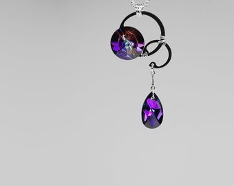 Blue and Purple Swarovski Crystal Pendant, Swarovski Necklace, iridescent crystal, Industrial Jewelry, Meridian Blue Crystals, Eris v10