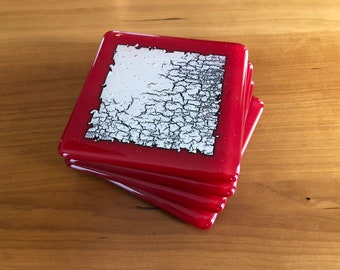 Silver Foil Glass Coasters - Set of 4 - Red & Silver