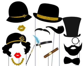 Print Yourself Gold and Black Roaring Twenties Photo Booth Party Props