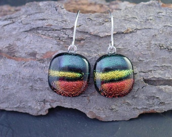 Emerald, Rust and Gold Dichroic Glass Dangle Earrings. 1.5in. E-57