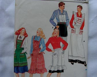 APRONS Mens and Misses | Full Half Bib Fancy Plain Tuxedo | OSZ | Butterick 4066 |  cut used complete vintage 1980s sewing craft pattern