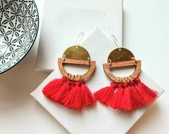 Red tassel earrings ~ contemporary earrings for women ~ semicircle raw brass drop earrings ~ modern jewelry gift for women ~ brass jewelry