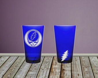 Grateful Dead Steal Your Face Sandblasted Etched Pint Glasses