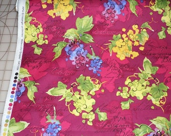 VINEYARD GRAPES watercolor garden cotton fabric, Robert Kaufman fabric, quilting fabric, 100% cotton fabric, fruit fabric, food fabric!