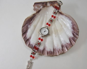 Red and Clear Crystal Beaded Womens Bracelet Wrist Watch