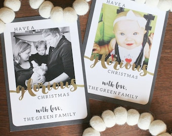 Christmas Photo Card, Photo Cards, Instagram Photo Card, Christmas Card, Black, White, Gold, Modern Christmas Card, PERSONALIZED, 5x7