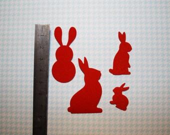 Set of 12 rabbits paper for scrapbooking embellisements velvet sticker