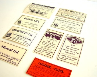 Antique Medicine Apothecary Pharmacy Labels (No.3) from 1890s-1910s (Set of 9 labels)