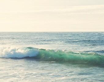 ocean wave photo, beach decor, blue green, beach photography, rolling wave, surfer decor, coast, seaside nautical peaceful calming, La Jolla