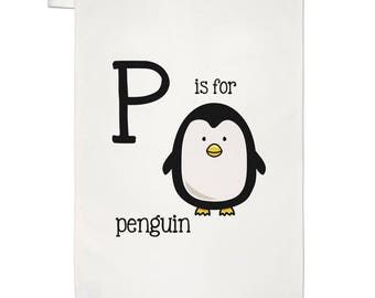 Letter P Is For Penguin Tea Towel Dish Cloth